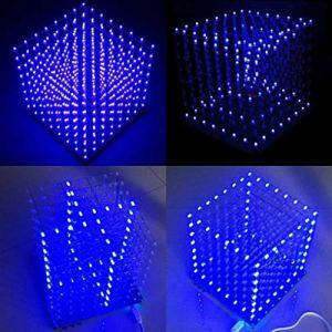 Yongse Geekcreit 8x8x8 LED Cube 3D Light Square LED Blue LED Electronic DIY Kit