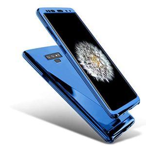 JAWSEU Coque Compatible avec Samsung Galaxy Note 9 Placage Miroir Ultra Mince Rigide PC Étui Housse Hard Case 360 Degrés Full Body Coque Plastique Dur Protection complète Bumper Case,Bleu