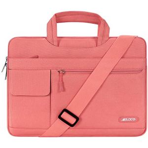 MOSISO 13-13,3 Pouces Housse Compatible MacBook Air 13/MacBook Pro Retina 13/MacBook Pro 13 avec CD-Rom, Flapover Messenger Sac Bandoulière en Polyester, Corail Vivant