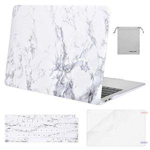 MOSISO Coque Compatible MacBook Air 13 Pouces A1932 2018 avec Retina Display&Touch ID, Coque Rigide&QWERTY Protection Clavier(EU Disposition)&Protecteur Écran&Sac Rangement, Marbre Blanc