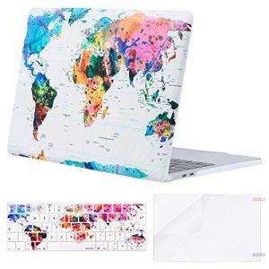 MOSISO Coque Compatible MacBook Pro 13 Pouces A1989 A1706 A1708 2018/2017/2016 avec/sans Touch Bar – Ultra Slim Coque Rigide&EU QWERTY Protection Clavier&Protecteur d'écran, Carte du Monde