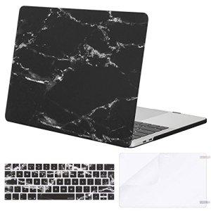 MOSISO Coque Compatible MacBook Pro 13 Pouces A1989 A1706 A1708 2018/2017/2016 avec/sans Touch Bar – Ultra Slim Coque Rigide&EU QWERTY Protection Clavier&Protecteur d'écran, Marbre Noir