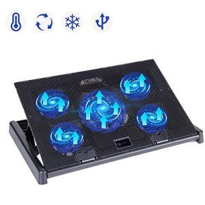 slopehill Ventilateur PC Portable, Refroidisseur Ordinateur Portable 10-17 Pouces Support de Montage Réglable avec 5 Ventilateurs Silencieux et Lumière Bleu LED, 2 Ports USB 2.0