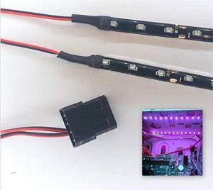 Top LED Kit éclairage pour tunning PC 9 LEDs x 2 Connecteurs Molex 15 cm 40cm Violet – Bright Purple