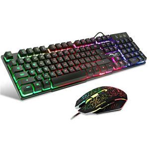 BAKTH Clavier de Gaming et Souris, LED Rétro-éclairage Arc en Ciel Luminosités de Couleurs Clavier Filaire USB Gamer et Souris