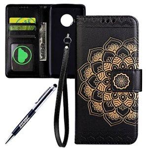 JAWSEU Coque Etui Moto G5 Plus Portefeuille PU Étui Folio en Cuir à Rabat Magnétique Luxe Retro Coloré Fleur Ultra Mince Stand Leather PU Case Flip Wallet Case