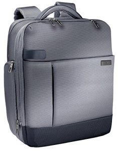 Leitz Sac à dos pour ordinateur 15.6″, 17 poches de rangement, Gris, Polyester Déperlant et Cuir Véritable, Smart Traveller, 60170084