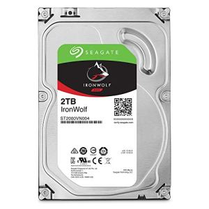 Seagate 2 TB IronWolf Disque dur interne 3.5″ pour NAS 1-8 Bay (5900 RPM, 64 MB Cache, 180 TB/year Workload Rating, Up to 180 MB/s, Model : ST2000VNZ04/VN004)