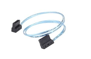 Silverstone SST-CP11 – Câble ultra mince SATA III 6 Gbps, latéral à angle 90°, connecteurs à profil ultra-mince, 30cm, bleu