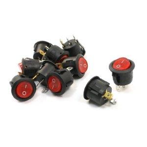SPST I/O-ON-OFF Lot de 10 ampoules à clipser pour commutateur à bascule Rouge