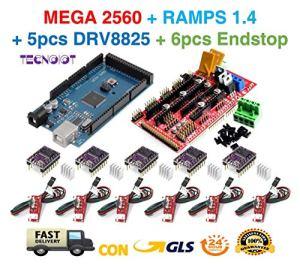 TECNOIOT Kit imprimante 3D pour Arduino Mega 2560 R3 Carte de développement + RAMPAS 1.4 contrôleur + 5pcs DRV8825 Moteur Pas à Pas Module + 6pcs Endstop