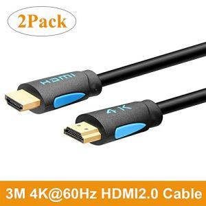 TESmart 3M Haute Vitesse avec Ethernet 4K @ 60Hz Câbles HDMI 4: 4: 4, Type de câble HDMI Premium, Soutien HDMI 2.0b 4K 60Hz HDR (Pack de 2)
