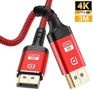 Câble DisplayPort 3M,Câble DP 4K en Nylon tressé[4K@60Hz,1440p@144Hz],Câble DisplayPort vers DisplayPort Câble pour Ordinateur Portable, TV, TV,PC ASUS/Dell/Acer – Câble de Moniteur de Jeu (Rouge)