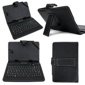 Etui aspect cuir noir + clavier AZERTY 7 POUCES intégré pour tablette Base Tab 7.1 et AndyPad Pro 7″ + stylet tactile BONUS – Garantie 2 ans