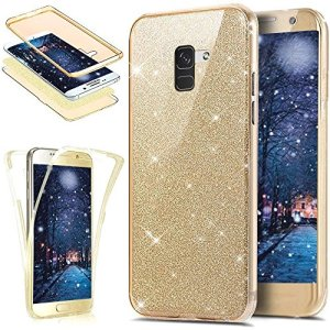 Etui Galaxy A8 Plus 2018,Coque Galaxy A8 Plus 2018 Transparent Silicone Gel Ultra Mince TPU 360 Degrés Full Body Protection Brillant Bling Glitter Paillette Flexible Silicone Case Coque Housse,Or