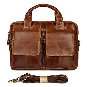 Mallette d'affaires Sac à bandoulière rétro pour homme avec une épaule et un sac à main rétro en cuir ciré à l'huile diagonale Sac pour l'école / voyage / femme / homme-BlackBag for Schoo