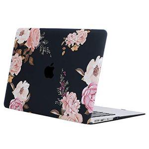 MOSISO Coque Compatible MacBook Air 13 Pouces A1369/A1466 2010-2017, Ultra Mince Coque Rigide avec Motifs Compatible Mac Air 13 Pouces, Pivoine sur Base Noire Transparente