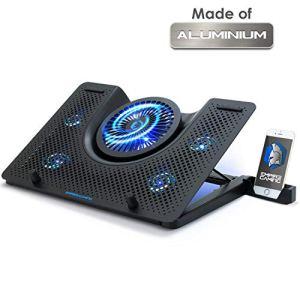 EMPIRE GAMING Turboost – Refroidisseur PC Ordinateur Portable Gamer – Support Ventilé de 12 à 17 Pouces – 5 Ventilateurs Puissant Silencieux – 5 Hauteurs Réglables – Rétro LED Bleu
