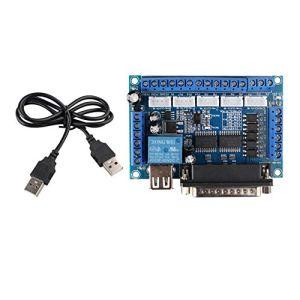 MACH3 Adaptateur d'interface CNC 5 axes avec coupleur optique pour pilote de moteur pas à pas MACH3 avec câble USB