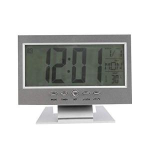Noir et blanc Contrôle de la lumière Contre-jour LCD Alarme Horloge Horloge Météo Moniteur Calendrier avec thermomètre 147 * 56 * 115mm (L * W * H) (argent)