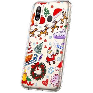 JAWSEU Compatible avec Samsung Galaxy M30 Coque Étui Transparent Silicone,Ultra Mince Souple TPU Cristal Clair Housse Coque de Protection avec Mode Belle Lovely Noël Motif,Aire de Jeux