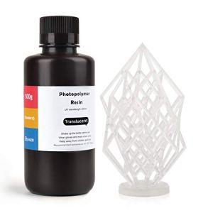 ELEGOO LCD UV 405nm Résine Rapide pour LCD Impression 3D Liquides 500g Photopolymère Résine Translucide(ABS Like)