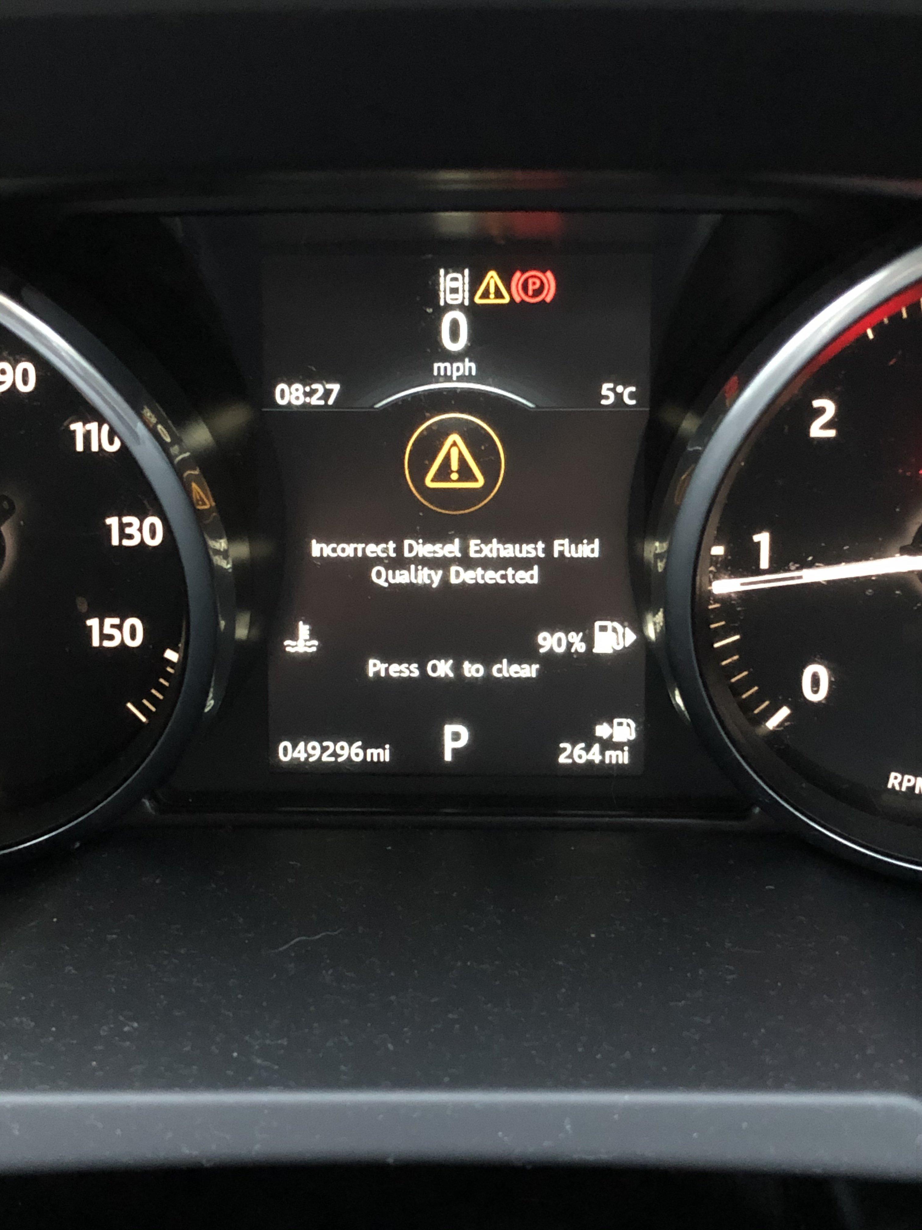 incorrect diesel exhaust fluid detected