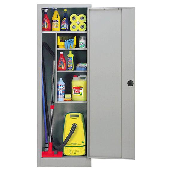 armoire a balai monobloc metallique