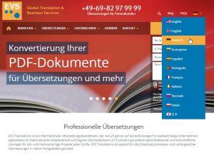 Webseiten Übersetzung EVS Translations