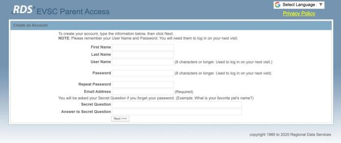 Create an Account on Parent Access