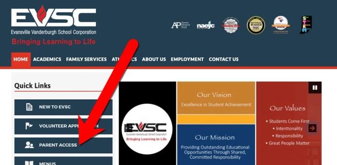 Parent Access Website Button on EVSC District Website