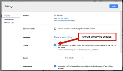 Google Drive Offline Settings Enabled