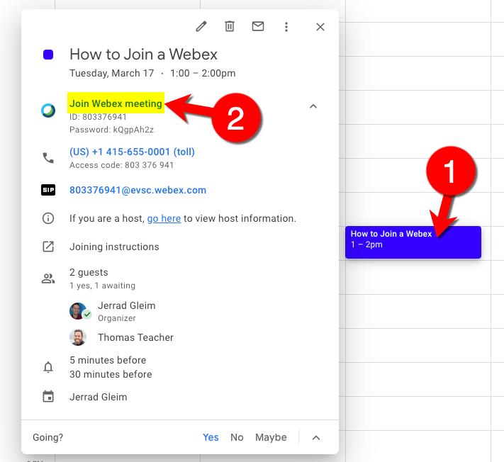 Join Webex using Google Calendar on a Computer