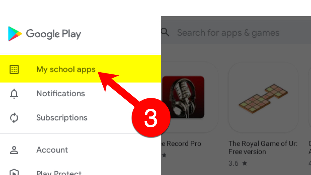 3). Click My school apps in the left sidebar.