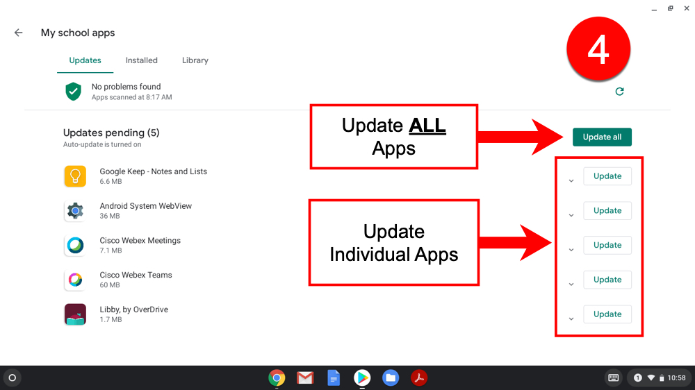 4). Choose to Update ALL Apps or select to Update apps one at a time.