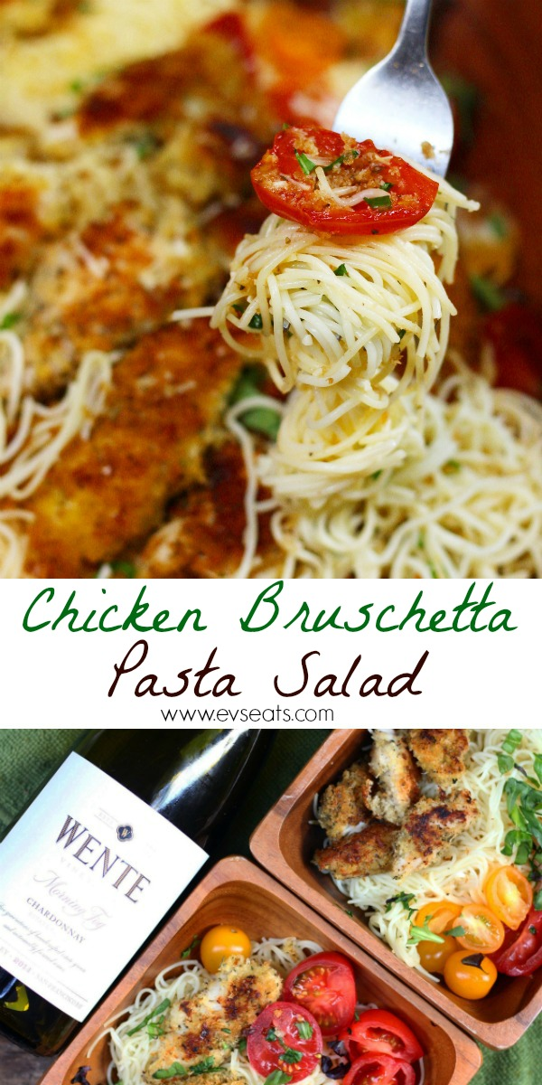 Chicken Bruschetta Pasta Salad is the perfect dish for any occasion! With seasoned panko breaded chicken, ceviche tomatoes, and garlic bread crumbs!