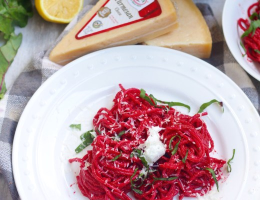 Not only is this beet pesto pasta a beautiful color, but it's absolutely indulging and delicious finished with black truffle goat cheese! #ad