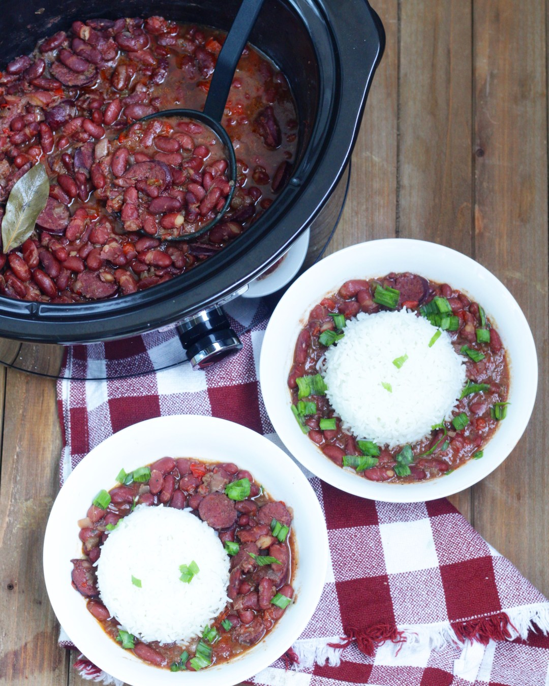 Cajun Red Beans and Rice, a delicious version of this Creole classic made in your slow cooker crockpot! Super easy and a delicious!