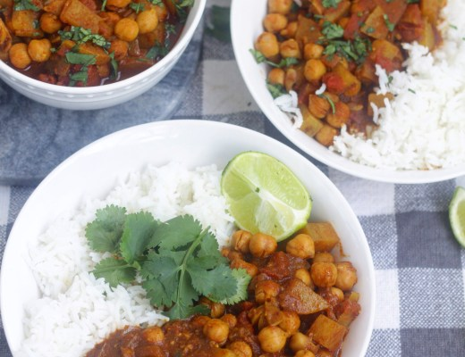 This vegan chickpea & potato curry is a healthy and comforting dish that's perfect for weeknight dinners! With a Caribbean flavor base, the spices are bold and delicious! #sponsored
