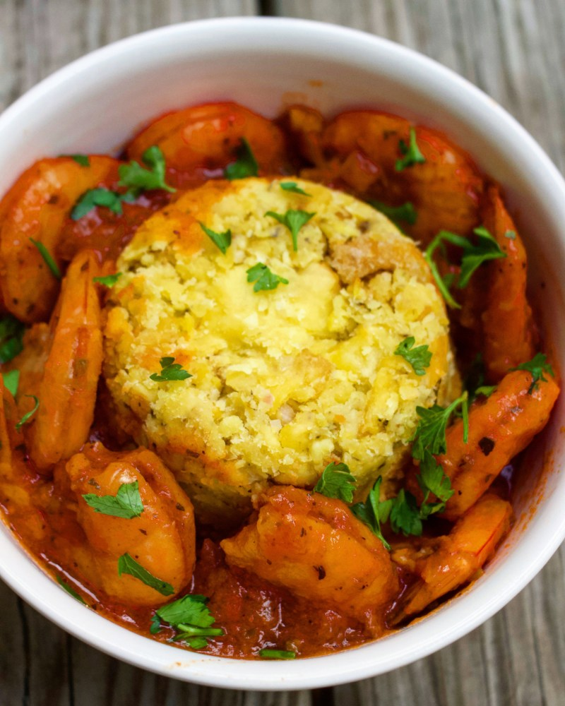 Creole Shrimp Mofongo! This mash-up features a spicy and hearty Creole shrimp stew served with a Puerto-Rican mashed plantain mofongo.