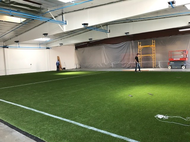Indoor soccer field lines