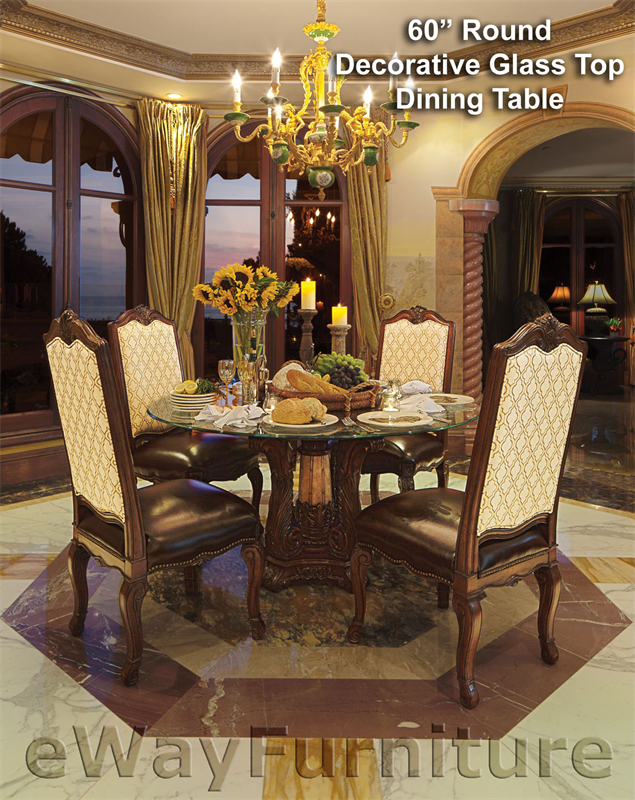 Victoria Palace 60 Round Decorative Glass Top Dining Table