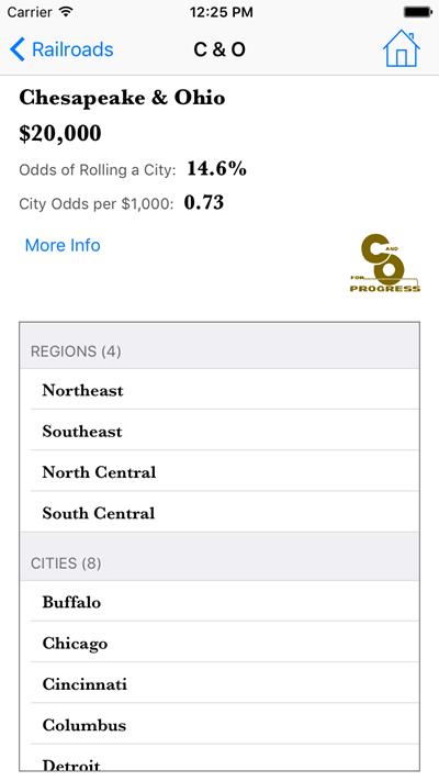 Rail Baron Tools Railroad Details Screen