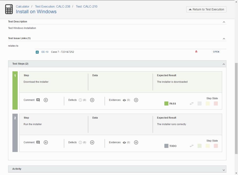 Xray execute Test Case Screen Shot