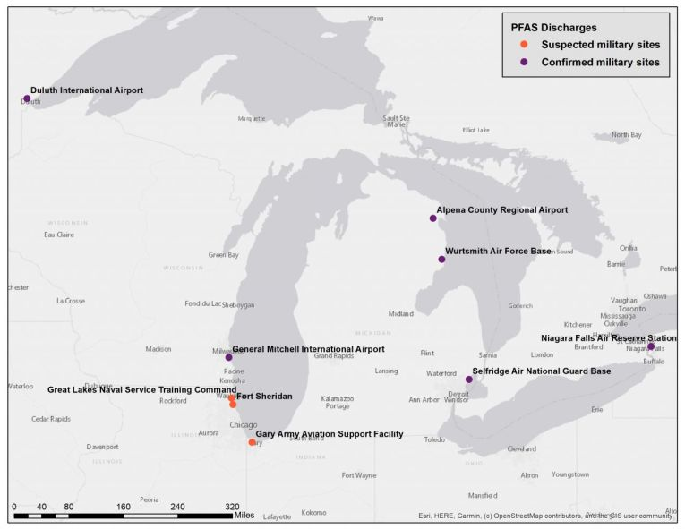 Suspected PFAS sites along the Great Lakes