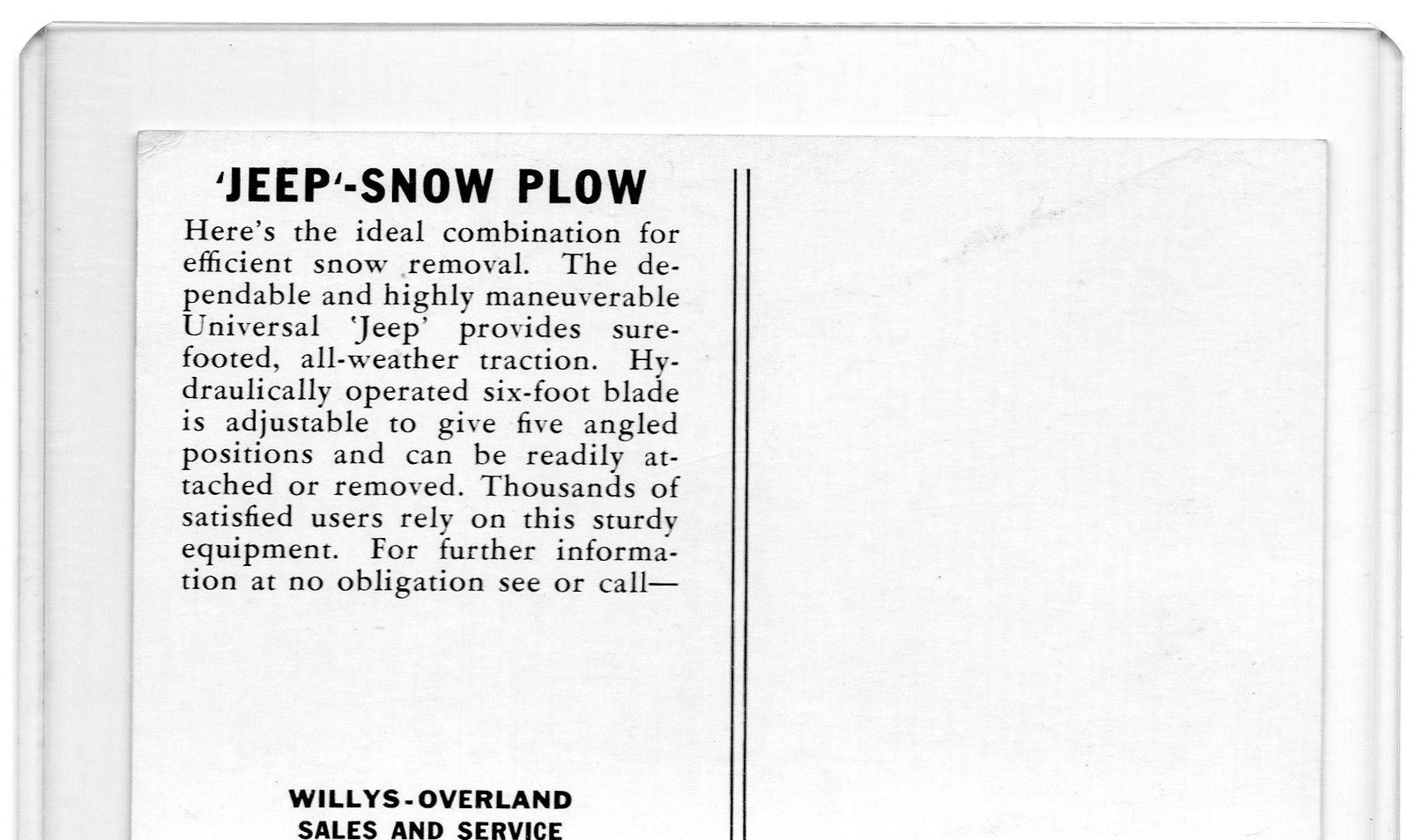 B Amp W Postcard Of A Cj 3a Jeep W Snowplow On Ebay