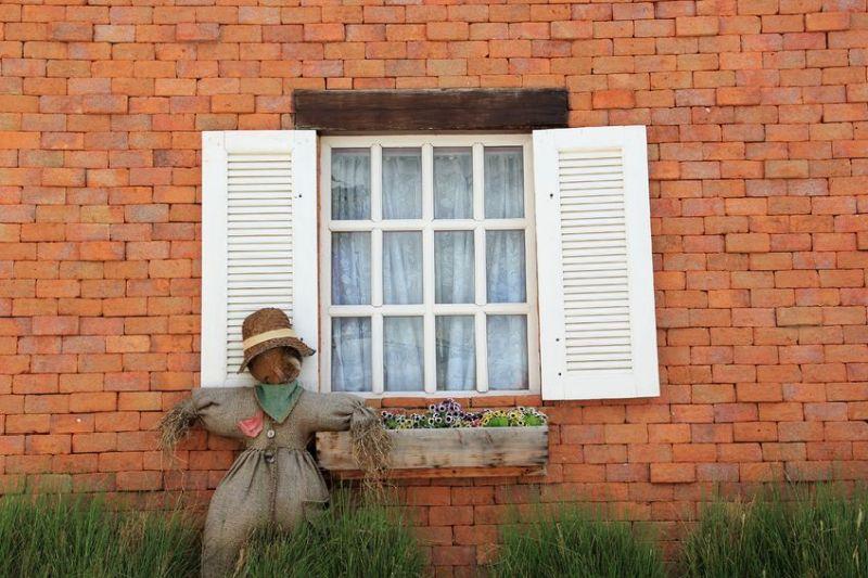 21522506 – old vintage door and scarecrow
