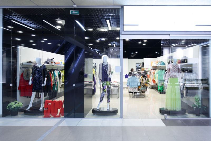 32339818 – bright and fashionable window of modern european store