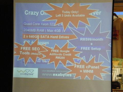 Exabytes Dedicated Server at 3rd WebmasterMalaysia Gathering