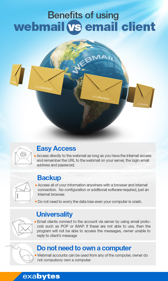 Benefit of using webmail vs email client
